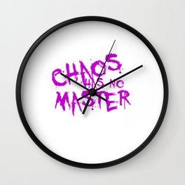 Chaos Has No Master Purple Graffiti Text Wall Clock