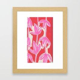 Red and Pink Sketchbook Botanical Framed Art Print