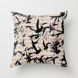 Bird Frenzy Throw Pillow