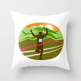 Marathon Finisher Oval Throw Pillow
