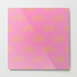 Cute Bike Pattern in Lemon Yellow and Pink Metal Print