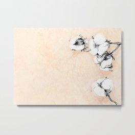 Cotton Flower on rice paper Metal Print