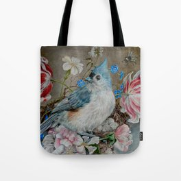 Blue Titmouse and Bee with floral still life Tote Bag