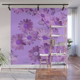 Pinkish Lilac Color Purple Daisy Flowers Garden Wall Mural