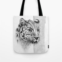 leopard Tote Bags featuring Leopard by Anna Tromop Illustration