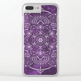 Purple Satin Mandala Clear iPhone Case