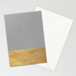 Color Blocked Gold & Grey Stationery Cards
