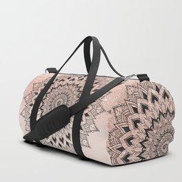 Boho black watercolor floral mandala rose gold glitter ombre pastel blush pink Duffle Bag
