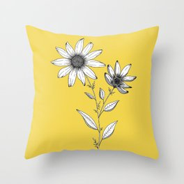 Wildflower line drawing | Botanical Art Throw Pillow