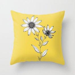 Wildflower line drawing | Botanical Art Throw Pillow