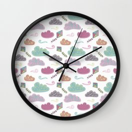 Cloudy day and kites Wall Clock