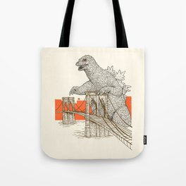 Godzilla vs. the Brooklyn Bridge Tote Bag