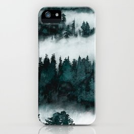 Foggy Forest Fun - Turquoise Mountains iPhone Case