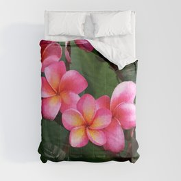 Hawaiian Sunrise Plumeria Comforters