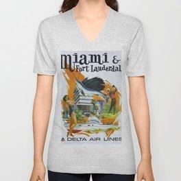 Vintage poster - Miami and Fort Lauderdale Unisex V-Neck