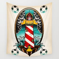 lighthouse Wall Tapestries featuring Lighthouse by Kaifa studio