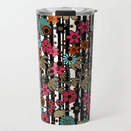 Floral pattern on black and white striped background Travel Mug