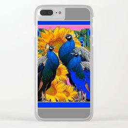 BLUE PEACOCK &  PINK-GREY COLOR YELLOW FLOWERS Clear iPhone Case