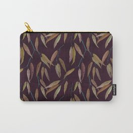 Eucalyptus leaves in autumn colors on plum violet Carry-All Pouch