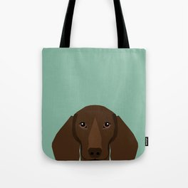 Doxie Portrait - Chocolate dog design - cute dachshund face Tote Bag
