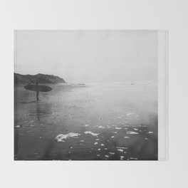 Surfer Standing on the Beach Throw Blanket