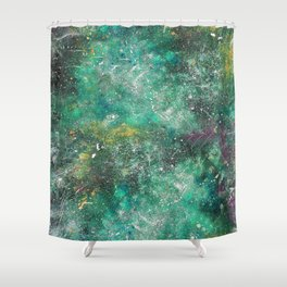 A galactic ocean -Green- Cosmic Painting Art Shower Curtain