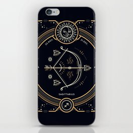 Sagittarius Zodiac Golden White on Black Background iPhone Skin