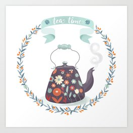 Tea Time Floral Tea Kettle Art Print