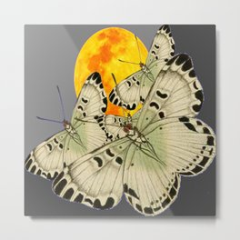 GOLDEN MOON MOTHS ON GREY Metal Print