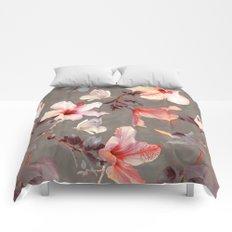 Coral Hibiscus Comforters