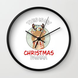 This Is My Christmas Pajama Reindeer Family Matching Christmas Pajama Costume Gift Wall Clock