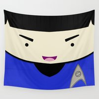 spock Wall Tapestries featuring Spock in a Box by Jenna Mhairi