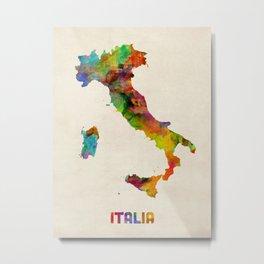 Italy Watercolor Map, Italia Metal Print