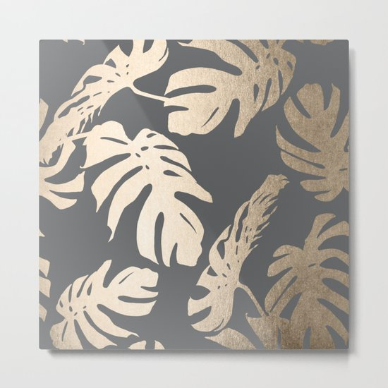 Simply Tropical Palm Leaves White Gold Sands on Storm Gray Metal Print