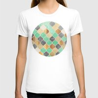 moroccan T-shirts featuring Charcoal, Mint, Wood & Gold Moroccan Pattern by micklyn