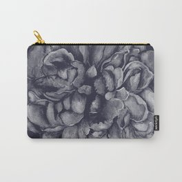 Navy on Navy Peony Watercolor Carry-All Pouch