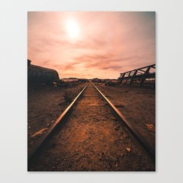 Train Tracks in the Desert Canvas Print