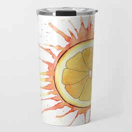 Splash Orange Slice Watercolor Painting Travel Mug