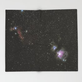 Orion horsehead running man and flame nebula Throw Blanket