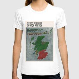 The Five Regions of Scotch Whisky (woodpress) T-shirt