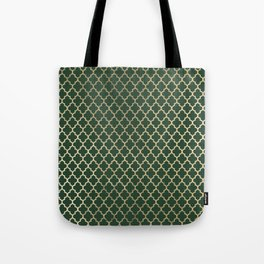 Forest green faux gold stylish moroccan quatrefoil Tote Bag