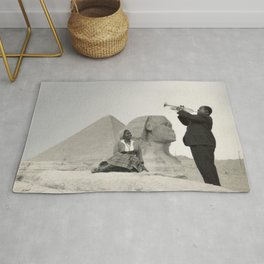 Louis Armstrong at the Spinx and Egyptian Pyrimids Vintage black and white photography / photographs Rug