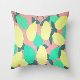 Lemony Fresh Citrus Pattern Throw Pillow