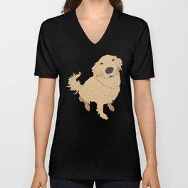 Golden Retriever Love Dog Illustrated Print Unisex V-Neck