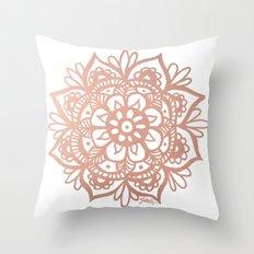 Rose Gold Mandala Throw Pillow