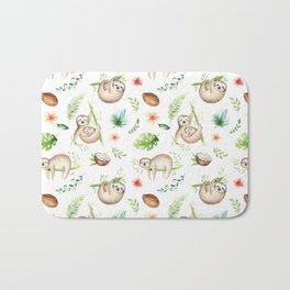 Tropical Sloths Pattern Bath Mat
