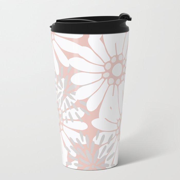 Summer Flowers Pink Metal Travel Mug