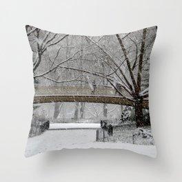 CENTRAL PARK BRIDGE ON A SNOWY JANUARY Throw Pillow