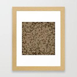 Vintage Filigree Print Burlap Framed Art Print