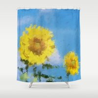 sunflowers Shower Curtains featuring Sunflowers by Paul Kimble